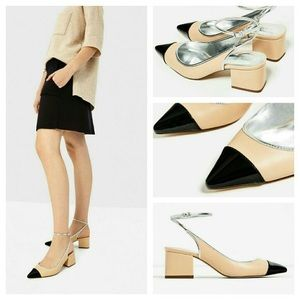 Zara Color Block Cap Toe Slingback Heels